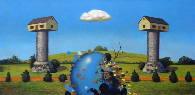 Rafael Francisco Salas, Untitled Portrait (Houses), oil on canvas, 22 x 42 inches, 2010