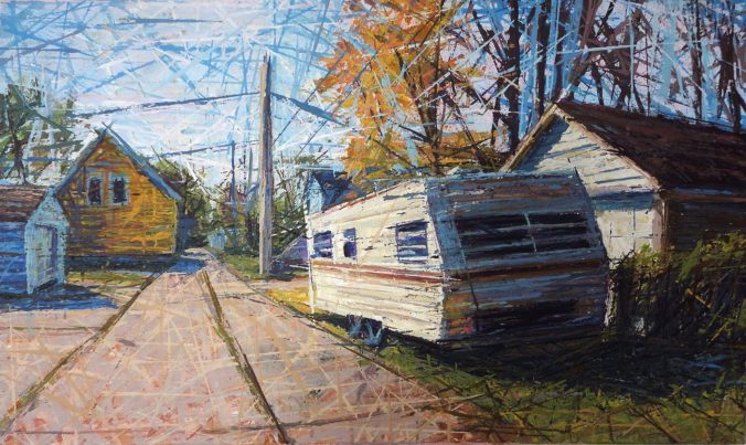 "Trailer Alley acrylic on canvas 18"" x 30"" 2010"