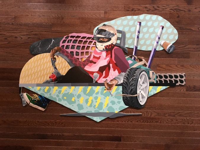 SKRT SKRT, Spray Paint (Montana 94), acrylic, on hand cut wood, 3ft x 4.5ft, 2018